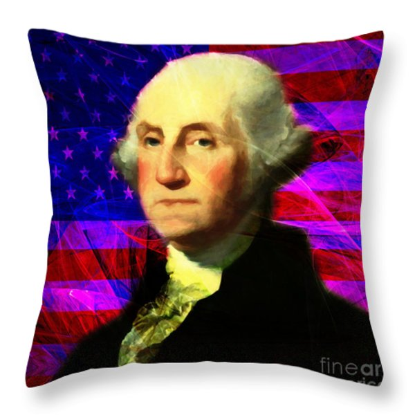 President George Washington v2 m123 square Throw Pillow by Wingsdomain Art and Photography