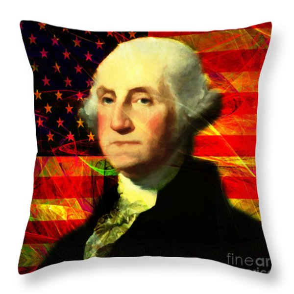 President George Washington V2 M20 Square Throw Pillow by Wingsdomain Art and Photography