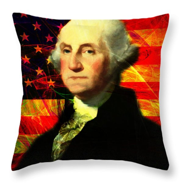 President George Washington V2 M20 Throw Pillow by Wingsdomain Art and Photography