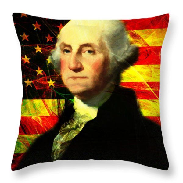 President George Washington v2 Throw Pillow by Wingsdomain Art and Photography