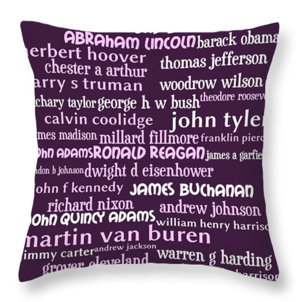 Presidents of The United States 20130625bwmag Throw Pillow by Wingsdomain Art and Photography