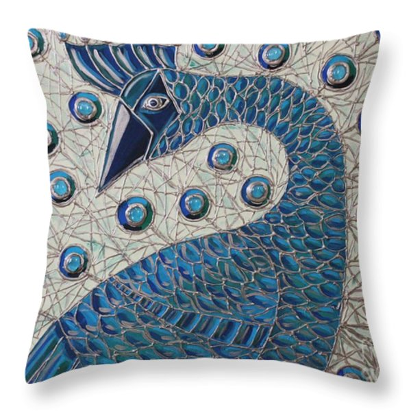 Pretty As A Peacock  Throw Pillow by Cynthia Snyder
