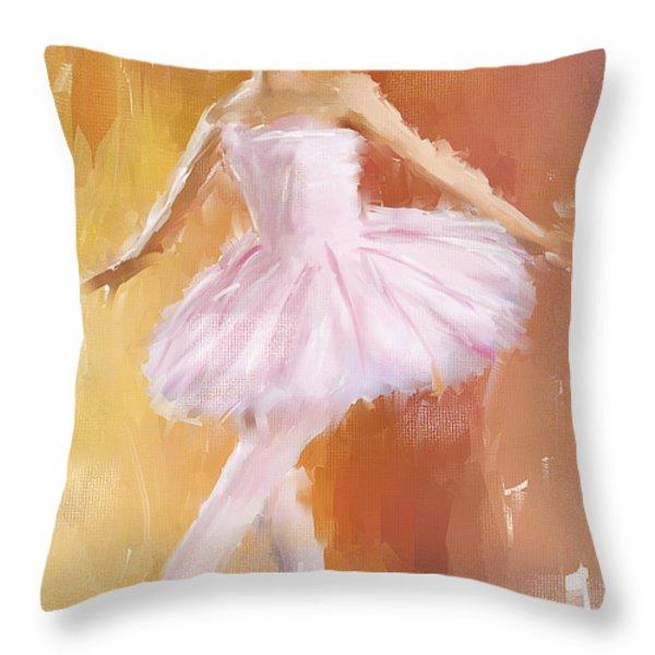 Pretty Ballerina Throw Pillow by Lourry Legarde