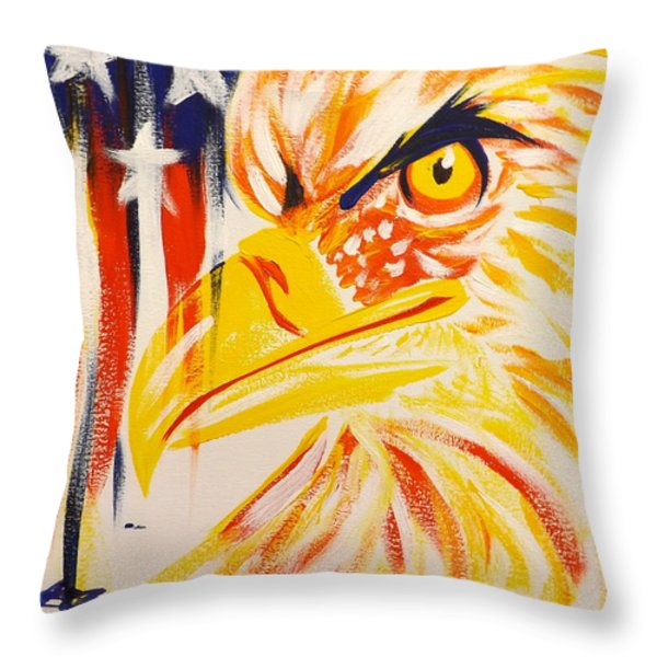 Primary Eagle Throw Pillow by Darren Robinson