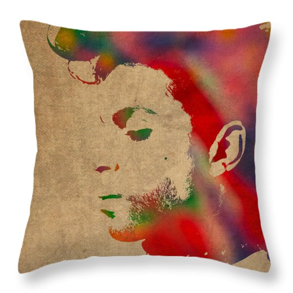 Prince Watercolor Portrait On Worn Distressed Canvas Throw Pillow by Design Turnpike