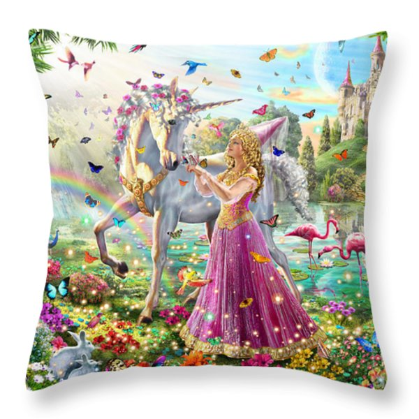 Princess And The Unicorn Throw Pillow by Adrian Chesterman