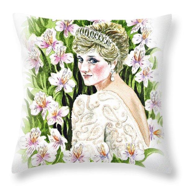 Princess Dianna Throw Pillow by Irina Sztukowski