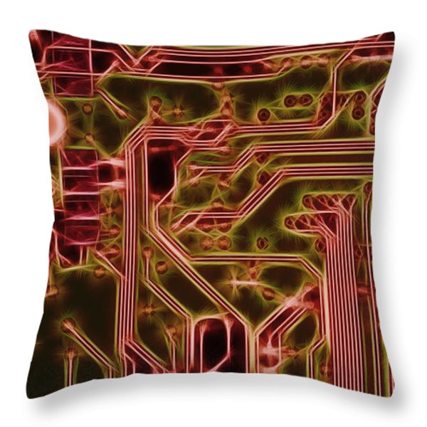 printed circuit - motherboard Throw Pillow by Michal Boubin