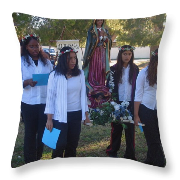 Procession With Statue Virgin Of Guadalupe St Michael And All Angels Liberal Catholic Church Casa Gr Throw Pillow by David Lee Guss
