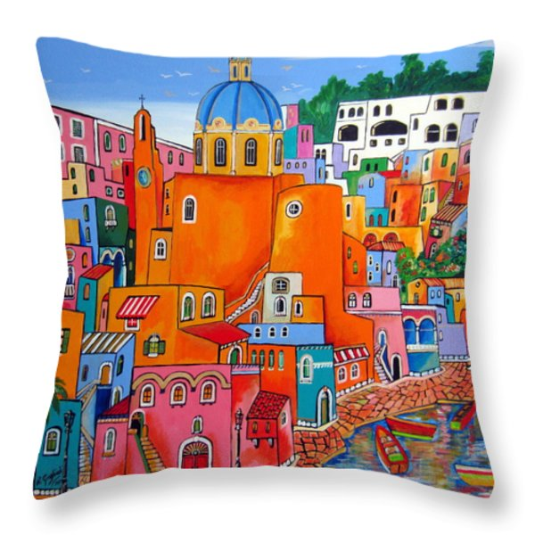 Procida houses Throw Pillow by Roberto Gagliardi