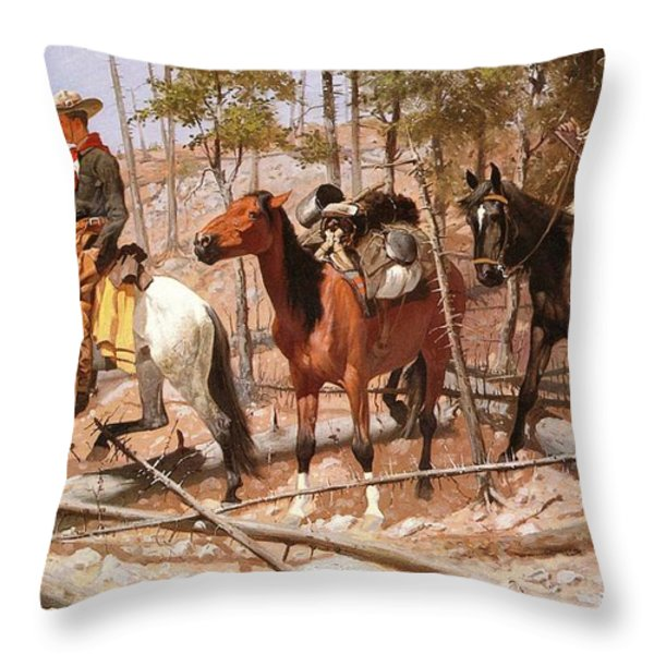 Prospecting For Cattle Range Throw Pillow by Frederic Remington