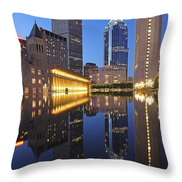 Prudential Center At Night Throw Pillow by Juergen Roth
