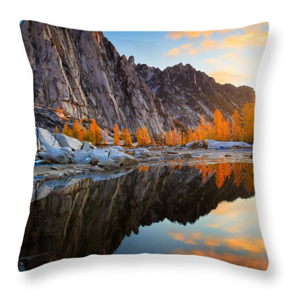 Prusik Reflection Throw Pillow by Inge Johnsson