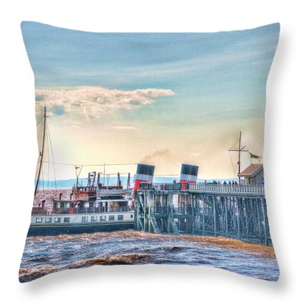 Ps Waverley At Penarth Pier Throw Pillow by Steve Purnell