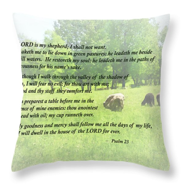 Psalm 23 The Lord Is My Shepherd Throw Pillow by Susan Savad