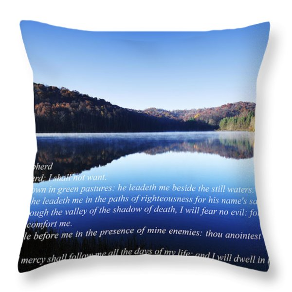 Psalm 23 Throw Pillow by Thomas R Fletcher