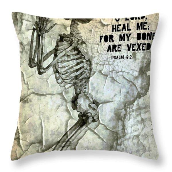 Psalm 6 2 Throw Pillow by Michelle Greene Wheeler