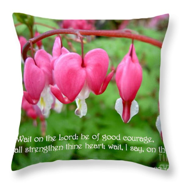 Psalms 27 14 Bleeding Hearts Throw Pillow by Sara  Raber