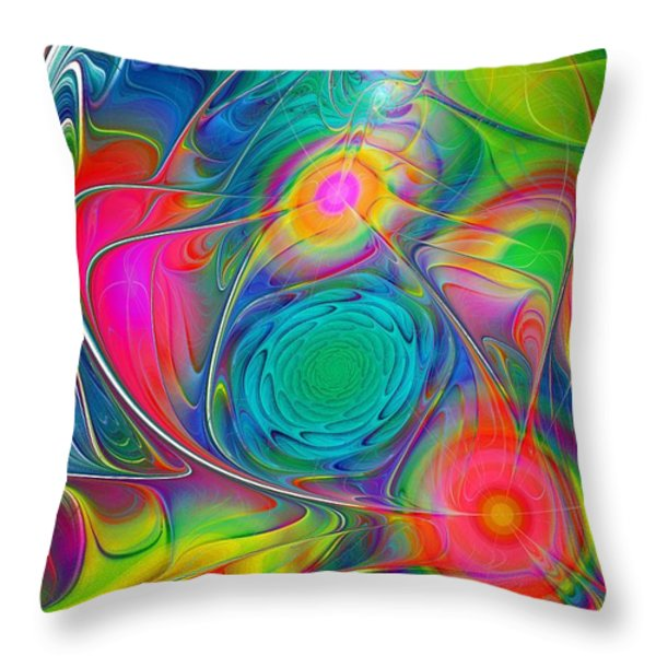 Psychedelic Colors Throw Pillow by Anastasiya Malakhova