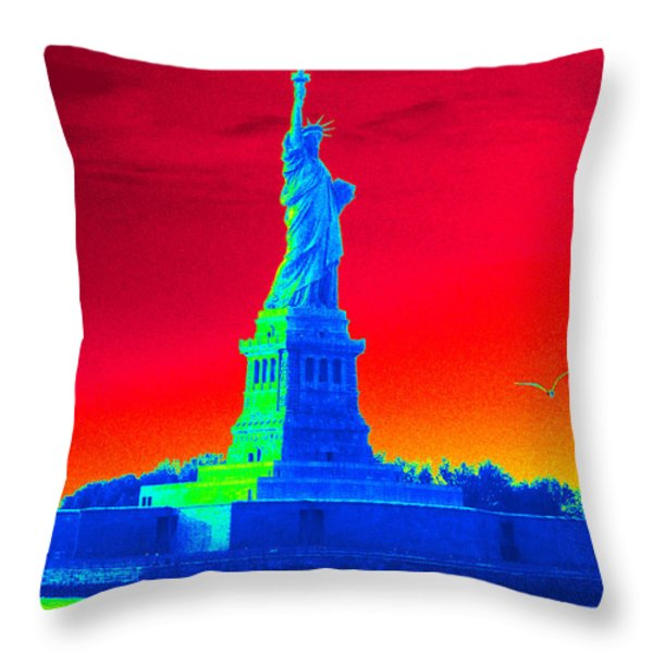 Psychedelic Liberty Throw Pillow by Avis  Noelle