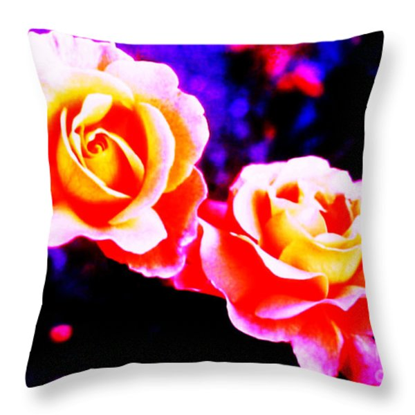 Psychedelic Roses Throw Pillow by Martin Howard