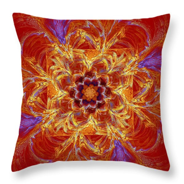 Psychedelic Spiral Vortex Red Orange And Blue Fractal Flame Throw Pillow by Keith Webber Jr