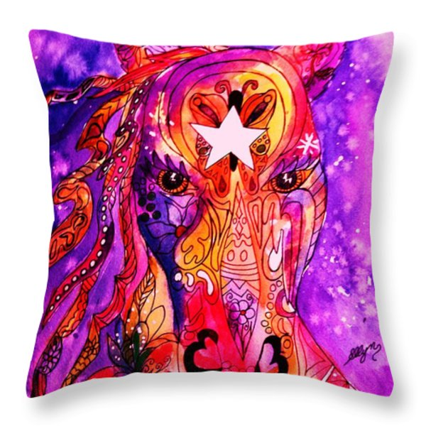 Psychedelic Tattooed Horse's Head Throw Pillow by Ellen Levinson
