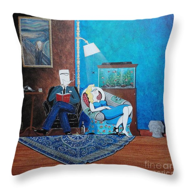 Psychiatrist Sitting In Chair Studying Spider's Reaction Throw Pillow by John Lyes