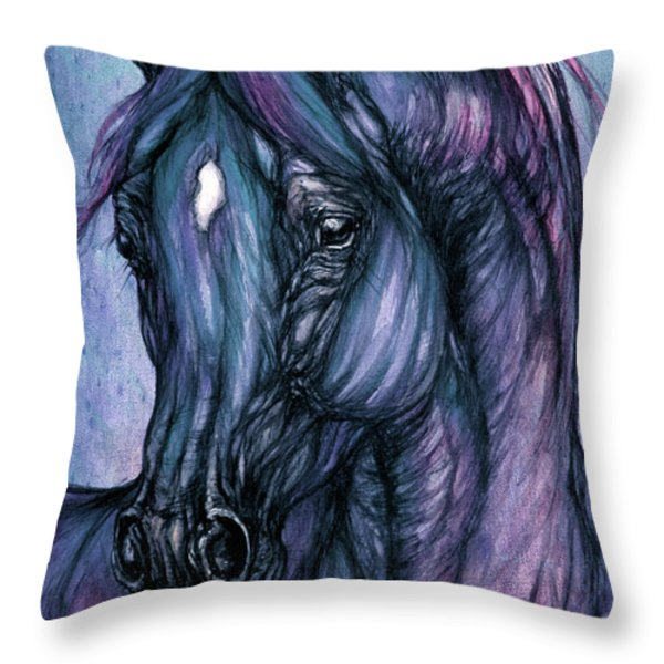 Psychodelic Deep Blue Throw Pillow by Angel  Tarantella