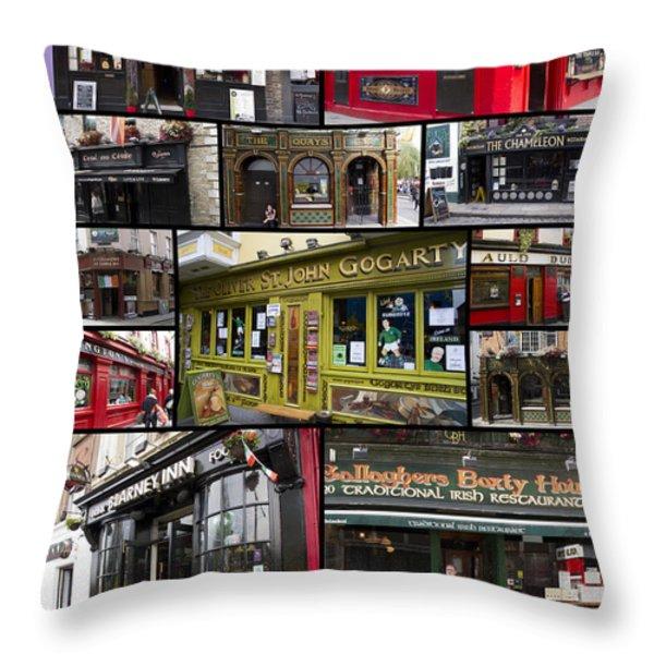 Pubs Of Dublin Throw Pillow by David Smith