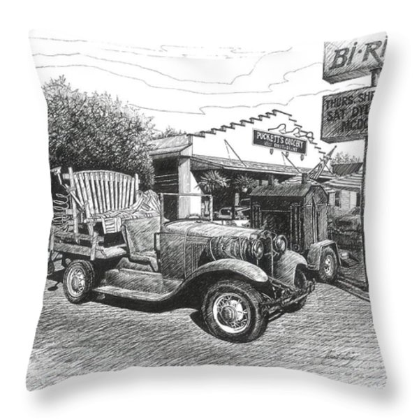 Puckett's Grocery and Restuarant Throw Pillow by Janet King