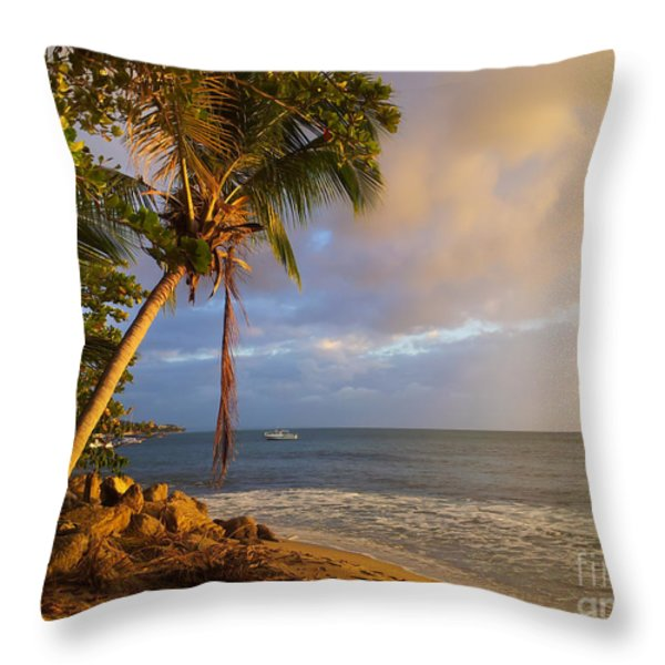 Puerto Rico Palm Lined Beach With Boat At Sunset Throw Pillow by Jo Ann Tomaselli