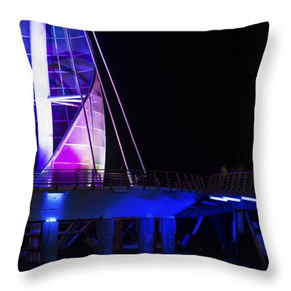 Puerto Vallarta Pier Throw Pillow by Aged Pixel
