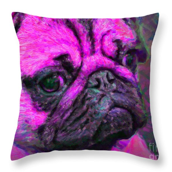 Pug 20130126v3 Throw Pillow by Wingsdomain Art and Photography