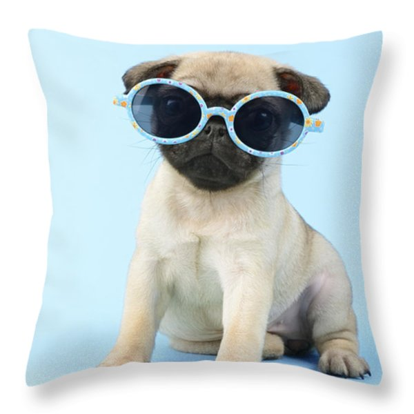 Pug Cool Throw Pillow by Greg Cuddiford