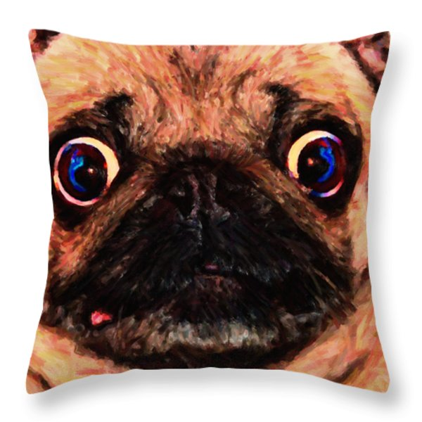 Pug Dog - Painterly Throw Pillow by Wingsdomain Art and Photography