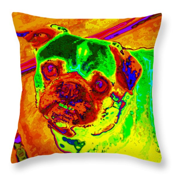 Pug Portrait Pop Art Throw Pillow by Eti Reid