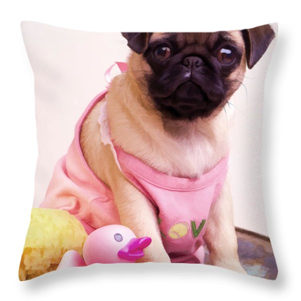 Pug Puppy Bath Time Throw Pillow by Edward Fielding
