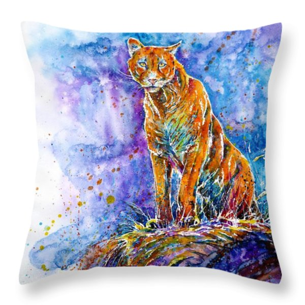 Puma. Listening To The Sounds Of The Mountains.  Throw Pillow by Zaira Dzhaubaeva