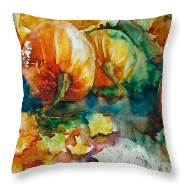 Pumpkin Patch Throw Pillow by Jani Freimann