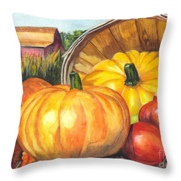 Pumpkin Pickin Throw Pillow by Carol Wisniewski