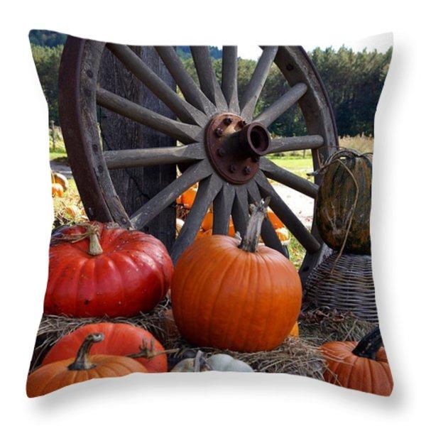 Pumpkin Wheel Throw Pillow by Kerri Mortenson