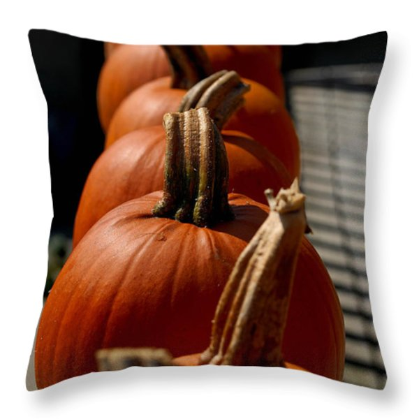 Pumpkins In A Row Throw Pillow by Amy Cicconi