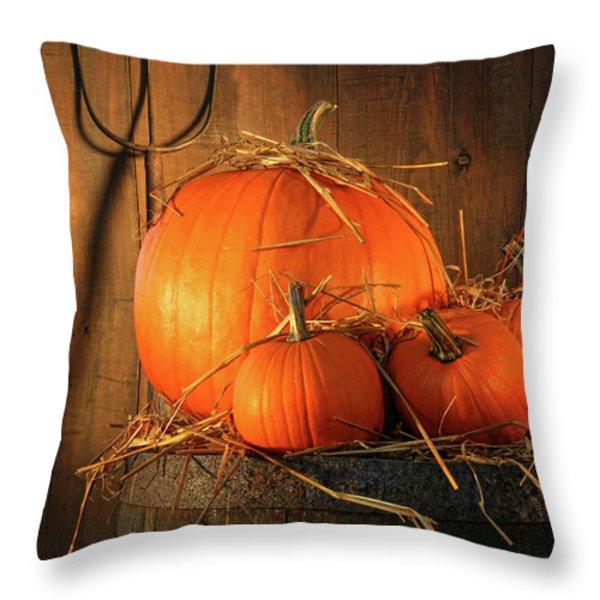 Pumpkins On Wine Barrel  Throw Pillow by Sandra Cunningham