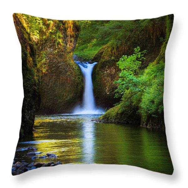 Punchbowl Falls Throw Pillow by Inge Johnsson