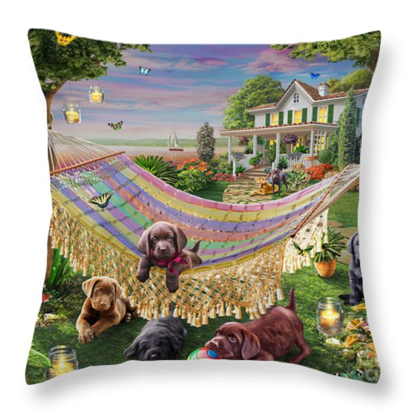 Puppies And Butterflies Throw Pillow by Adrian Chesterman