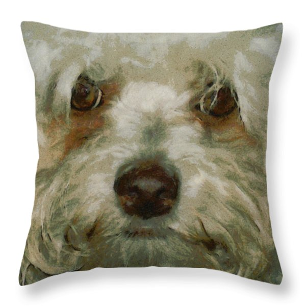Puppy Eyes Throw Pillow by Ernie Echols