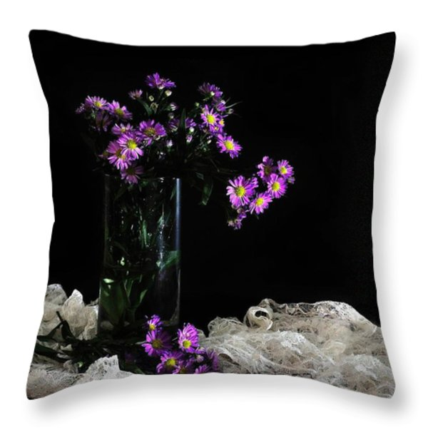 Purple and Lace Throw Pillow by Diana Angstadt