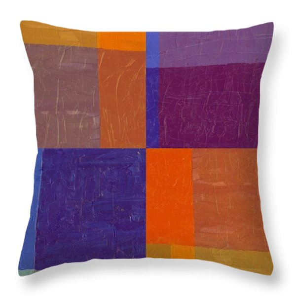 Purple and Orange Get Married Throw Pillow by Michelle Calkins