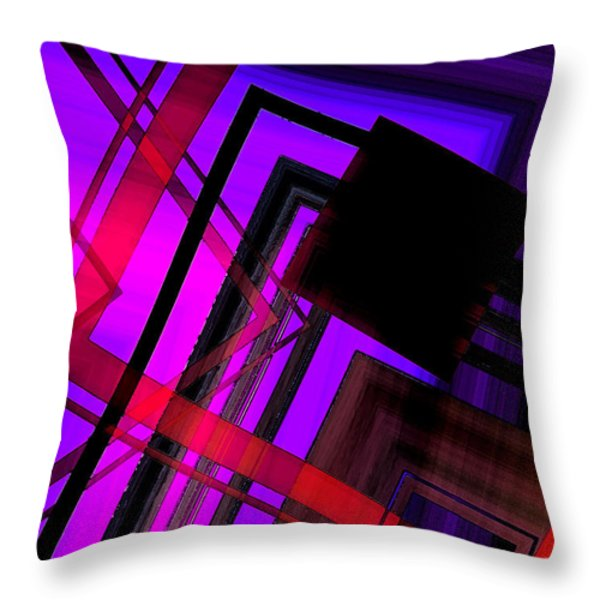 Purple and Red Art Throw Pillow by Mario  Perez